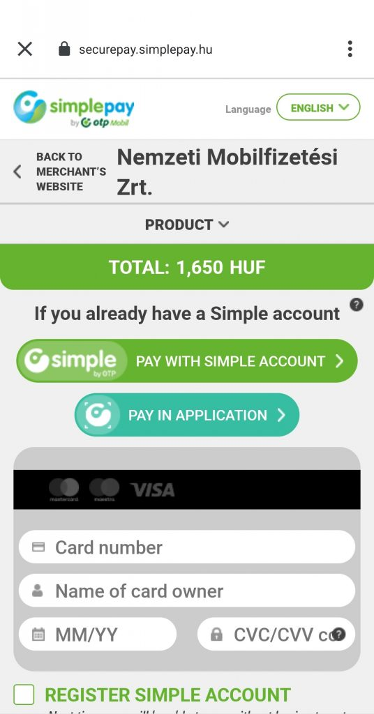 How to Use Mobile Tickets in Budapest: screenshot paying with Simplepay