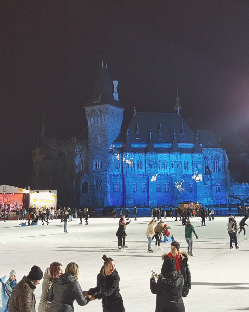 Winter in Budapest means ice skating! The rink at Városliget is breathtaking, with Vajdahunyad Castle as its background.