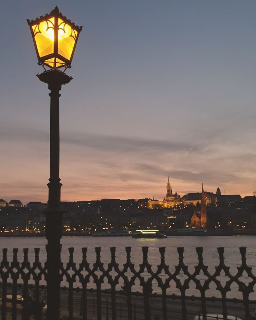 The river banks are perfect for a winter walk in Budapest.